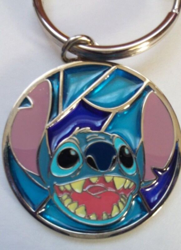 Disney Stained Glass Stitch Key chain Rare Lilo & Stitch Walt Disney Theme Parks