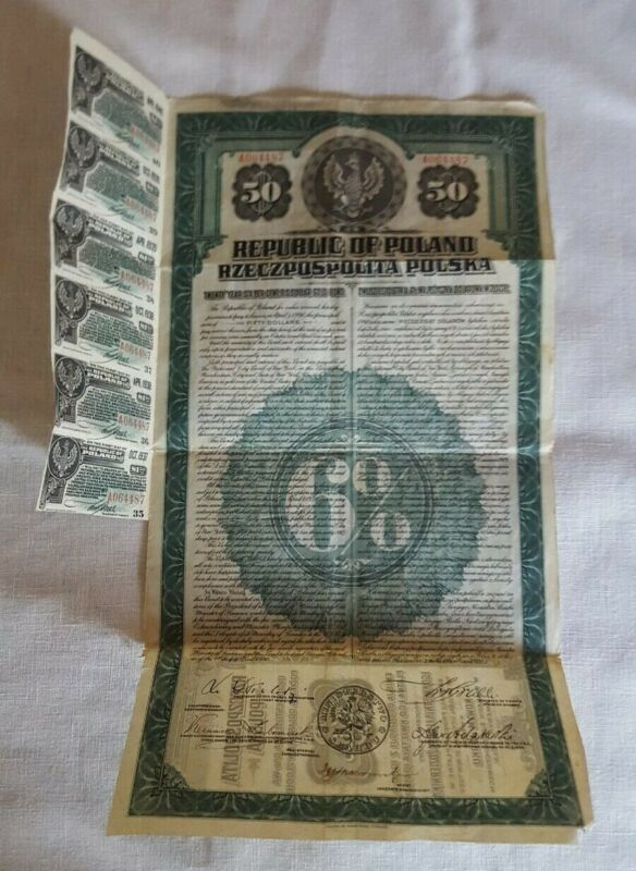 1920 REPUBLIC OF POLAND, 20 YEAR 6% US DOLLAR GOLD BOND WITH COUPONS