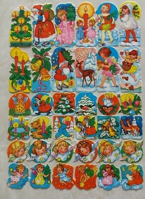 Rare Vintage Christmas Winter Theme Die Cut Thin Paper Full Sheet Ephemera ()