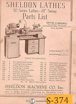 "Sheldon XL Series, 10"" Lathes Parts List Manual"