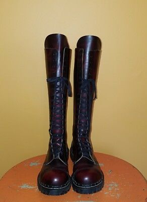 Vintage Gripfast 20 Eyelet Steel Toe England Tall Boots Men 8 Women 9