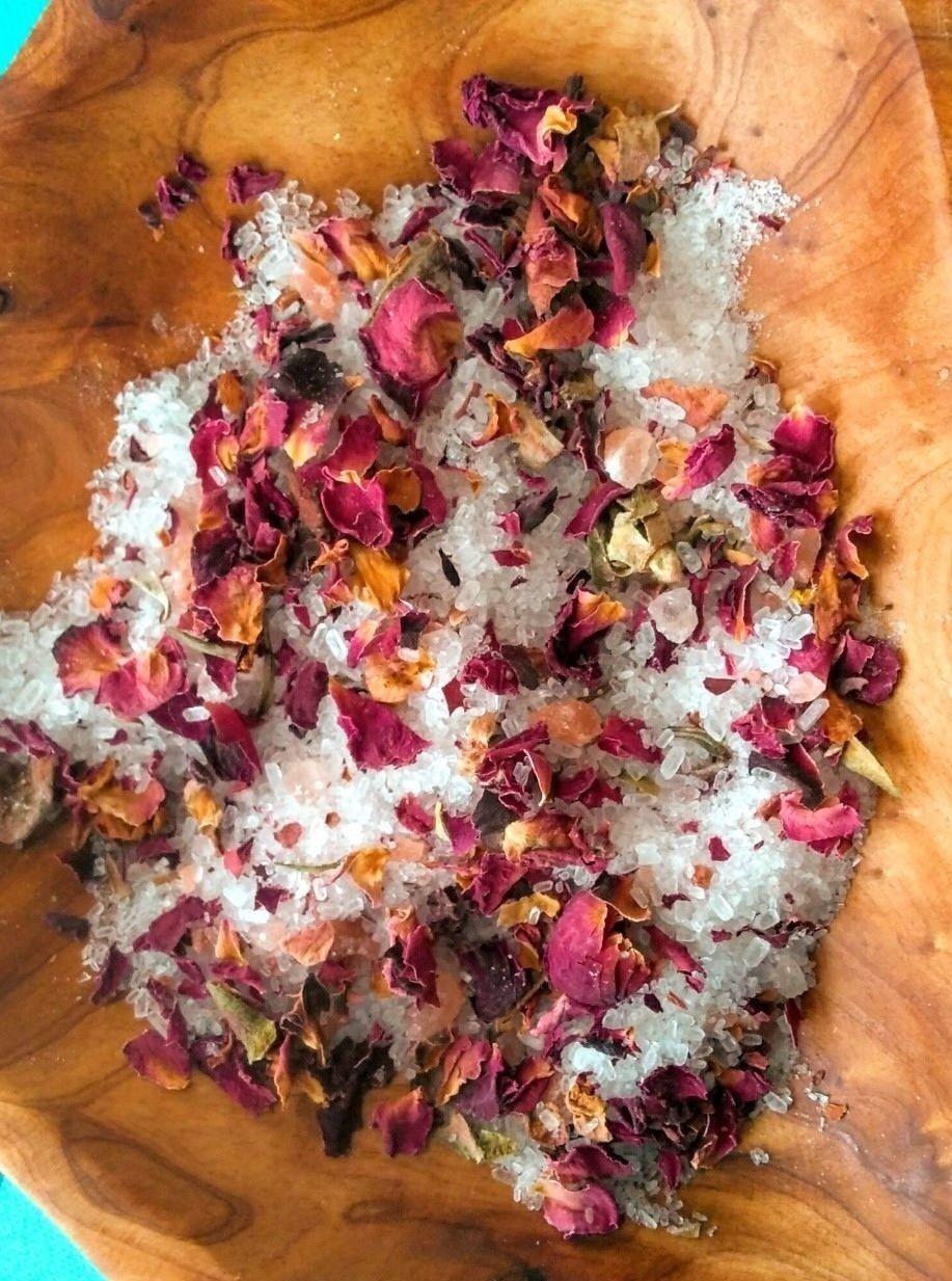 Natural/Organic Rose Petals Floral bath salts detox soak -Ch