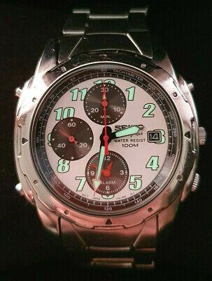 Seiko 7T32 6M30 alarm chronograph. Panda dial. Sept 1999. Boxed. Excellent.