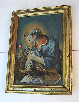 Antikes Hinterglasbild  Petrus 19. Jahrhundert