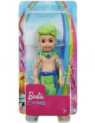 Barbie Dreamtopia Chelsea Merboy Green Hair Boy Green Mermaid Tail Doll