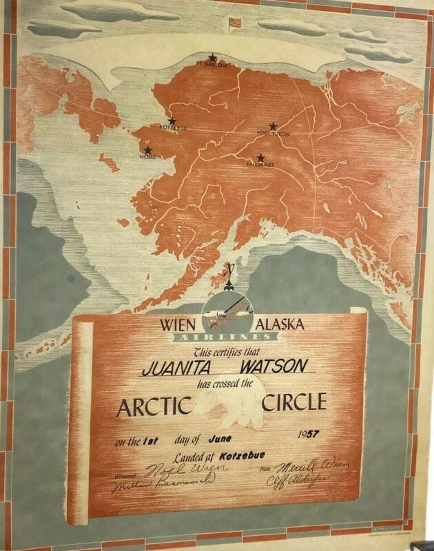 Vintage Wien Alaska Airlines, 1957 Arctic Circle Certificate w/ Original Postage