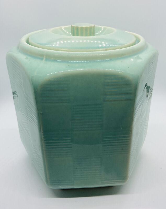 Shawnee USA Pottery Cookie Jar Aqua Green Basket Weave Hexagon