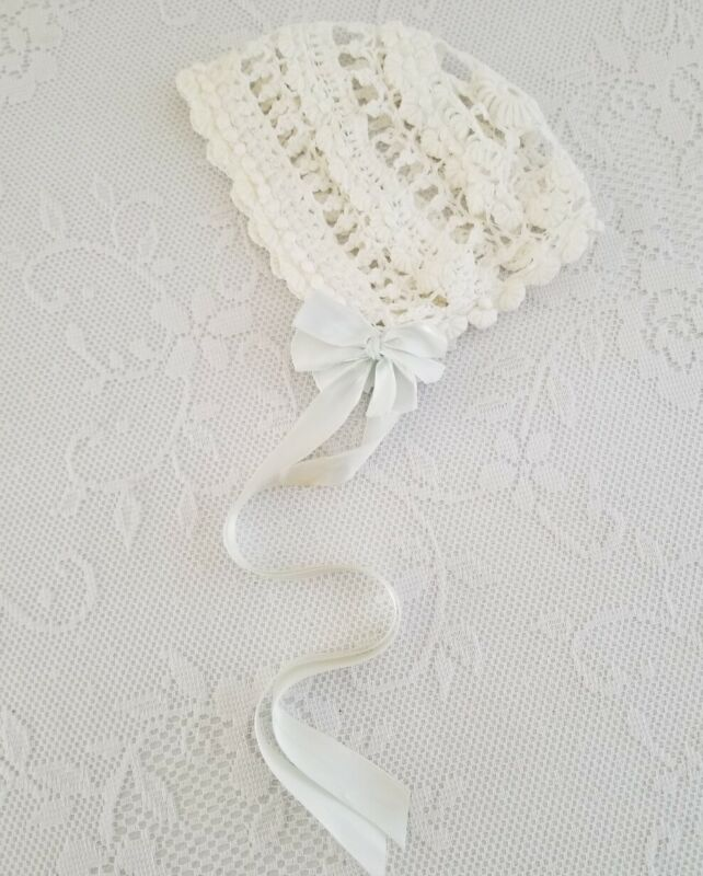 Antique Hand Crocheted Lace Victorian Baby Bonnet Night Cap Doll Vintage