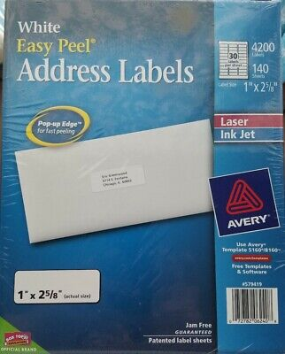 New Avery Easy Peel Address Labels 4200-count 140 Sheets Template 51608160