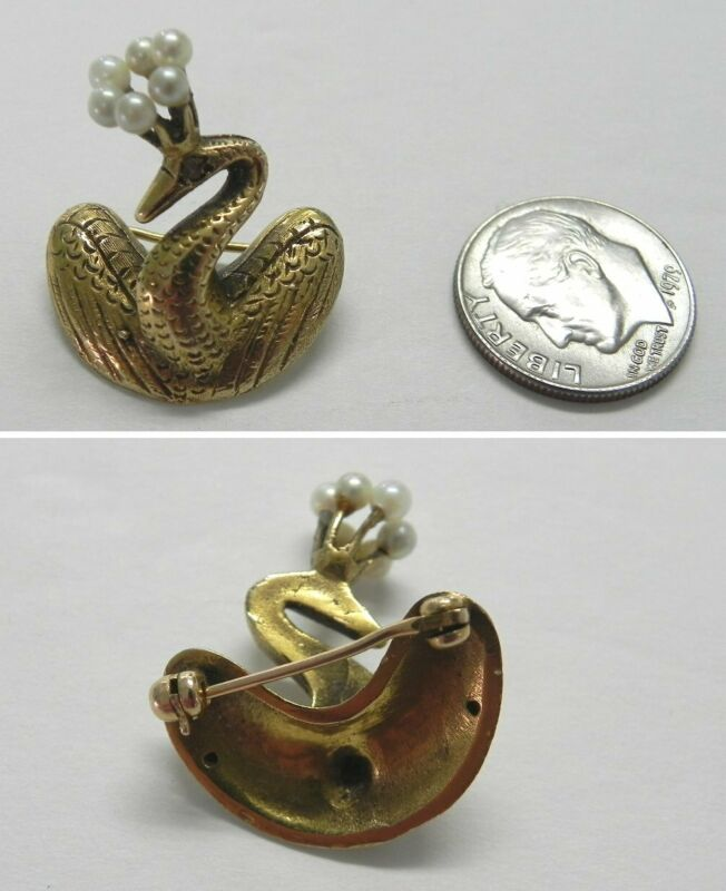 J958 Vintage 14K Solid Yellow Gold 3D Swan Pin with 2.5mm Pearls on Top of Head