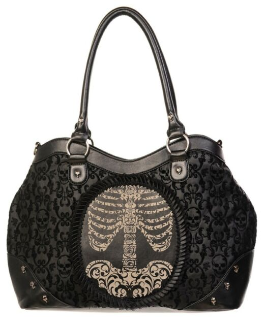 Gothic RIBCAGE Flocked Elegant Handbag Shoulder Bag by Banned Black Punk Rock