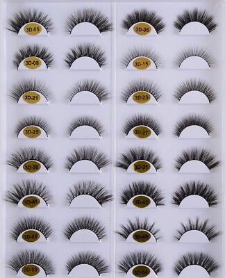 3D Mink Lashes Natural Style Makeup Strip Eyelashes 100%Siberian False Eyelashes