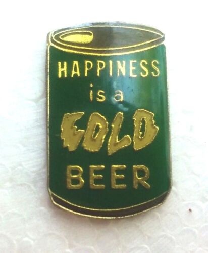 Happiness is a Cold Beer lapel pin pre-owned green can
