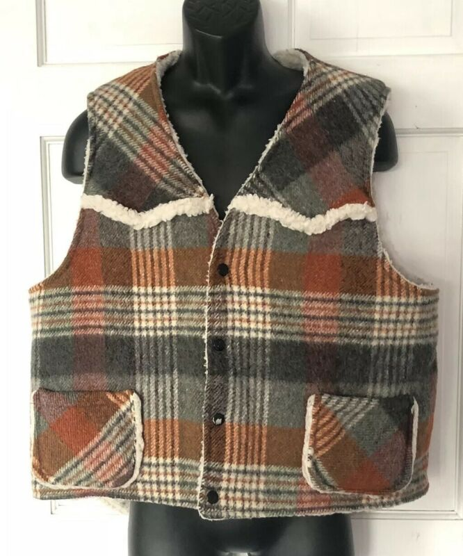 H Bar C Vest Wool Ranchwear XL Reversible Snap Western Vintage Made in USA