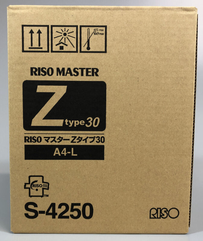 Genuine Riso Master S-4250 Z Type 30 Thermal Master Roll A4-L 2PK, BRAND NEW!