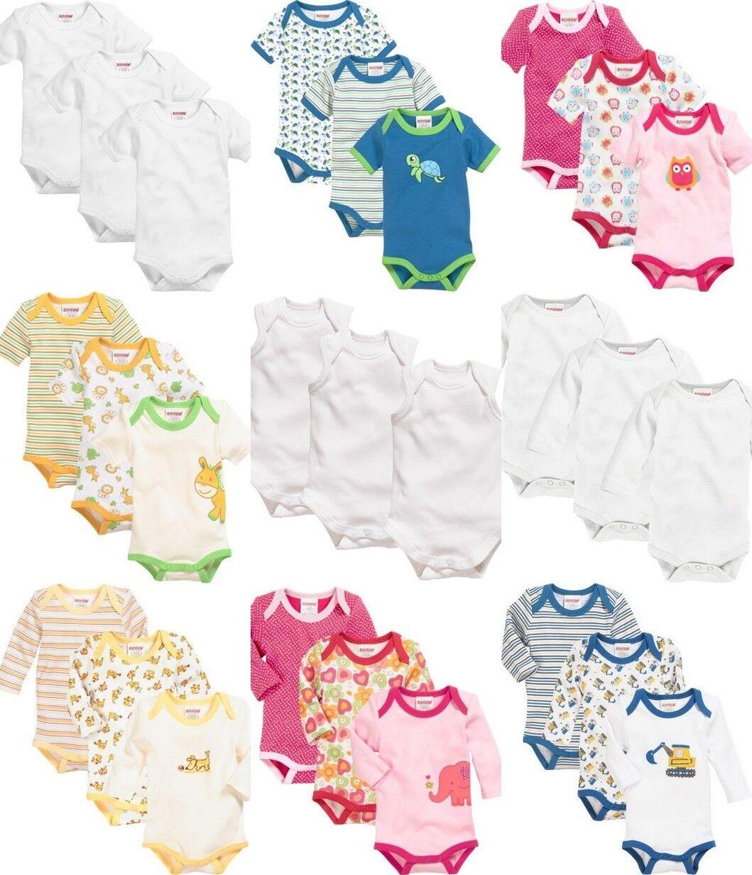 2540524a6e5d83 Schnizler Baby Body Hemd 3 er Set Kurzarm Langarm Mädchen Jungen Gr. 50 bis  92