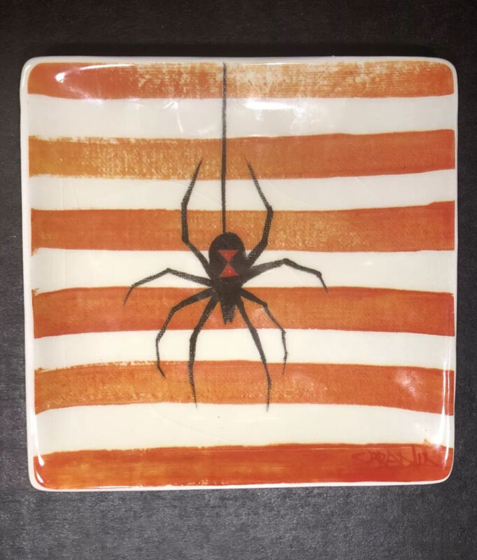 Square Trinket Tray Orange and White Stripes with Black Widow Spider