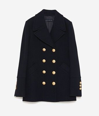 78b5004ed61 ZARA NEW AW18 BLACK DOUBLE-BREASTED PEACOAT 7891 654 SIZE S CHAQUETÓN  BOTONES