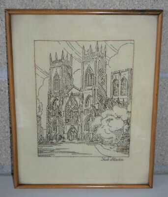 Antique Hand Cross Stitch Picture of York Minster