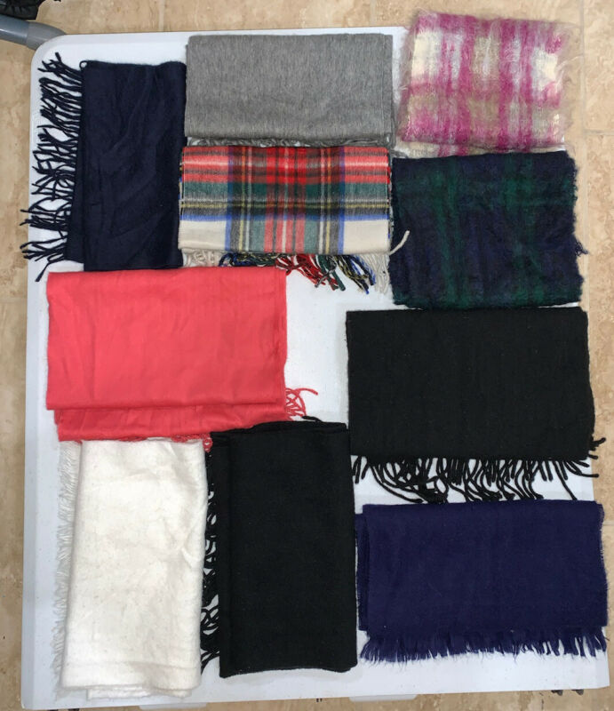 Lot Of 10 Cashmere & Mohair  Scarf Scarves Upcycle Repurpose ~ See Pics ~ As Is