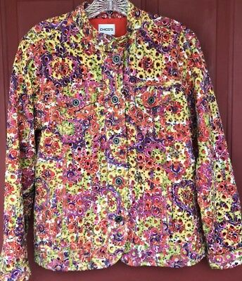 Chicos Multicolor EYELET Cut Out Throughout  Coat Jacket Chico's Size 1 STUNNING