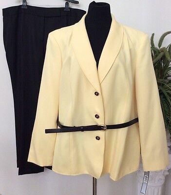 NWT Tahari Women's Yellow/Black 100% Polyester 2 Piece Pant Suit Sz 22W Ret.$320