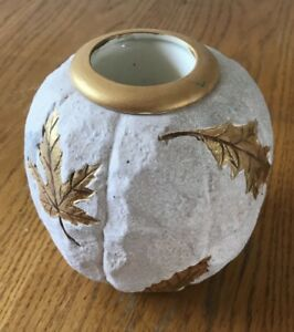 Decorative leaf pattern Pottery Candle Holder.