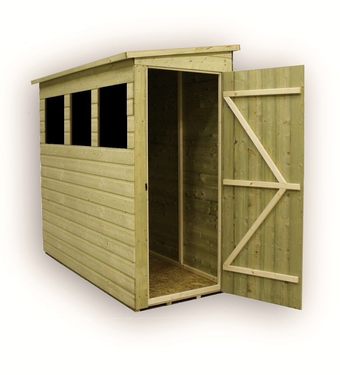 7x3 garden shed shiplap pent roof tanalised 3 windows low side pressure treated