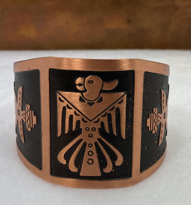 Vintage Solid Copper Cuff Bracelet Thunderbird Knifewing Tribal Bracelet NOS