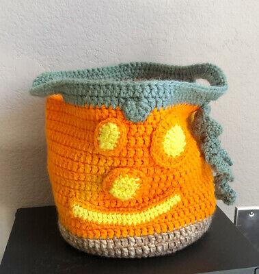 Hand Knitted Halloween Pumpkin Trick Or Treat Bucket Bag