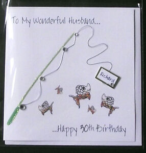 PERSONALISED-HANDMADE-FISHING-BIRTHDAY-CARD-HUSBAND-BOYFRIEND-SON-ETC-NEW