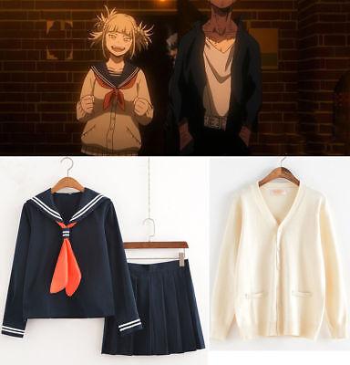 My Hero Academia Himiko Toga Cosplay JK Uniform Sweater Cardigan Suit Costume
