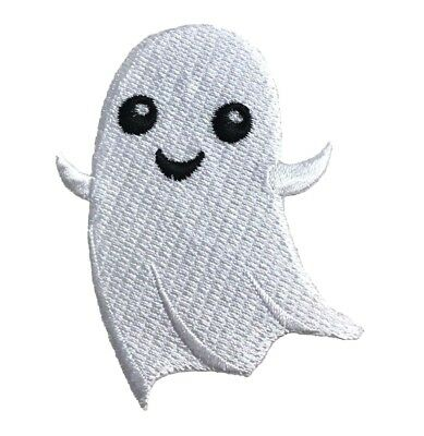 Halloween Ghost - Smiling/Friendly - Embroidered Patch/Iron on - Friendly Halloween