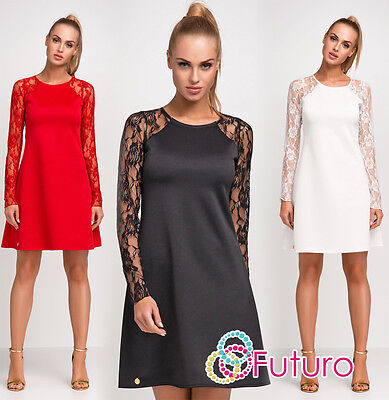 Womens Sexy Mini Dress With Lace Long Sleeves Party Clubwear Sizes 8 - 18 FA454