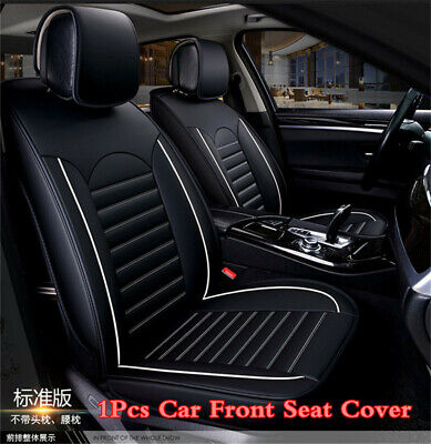 Full Surround Car Front Seats Cover PU Leather Black White Single Seat Protector