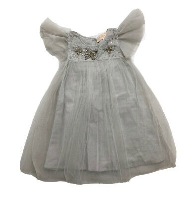 Tutu Du Monde Girl's Gray Sequin Tutu Flutter Sleeve Dress Size 4-5 Orig.$135