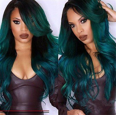 US Long Wave Synthetic Heat Resistant Fiber Ombre Green Wig Cheap Wigs for Women - Wigs For Women Cheap