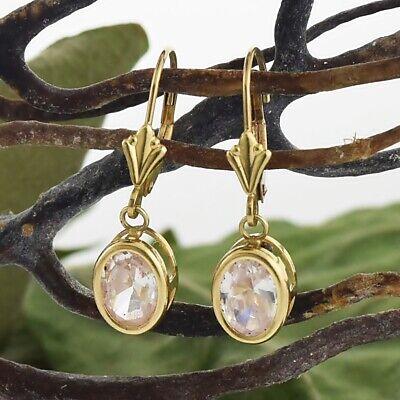 14k Yellow Gold Estate White Gemstone Leverback Drop/Dangle Earrings