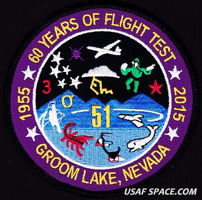 USAF GROOM LAKE, NV. - 60 YEARS OF FLIGHT TEST - AREA-51 - COMMEMORATIVE  PATCH