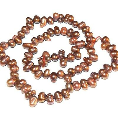 - NP261 Antiqued Rose 6mm - 10mm Top-Drilled Cultured Freshwater Rice Pearls 15