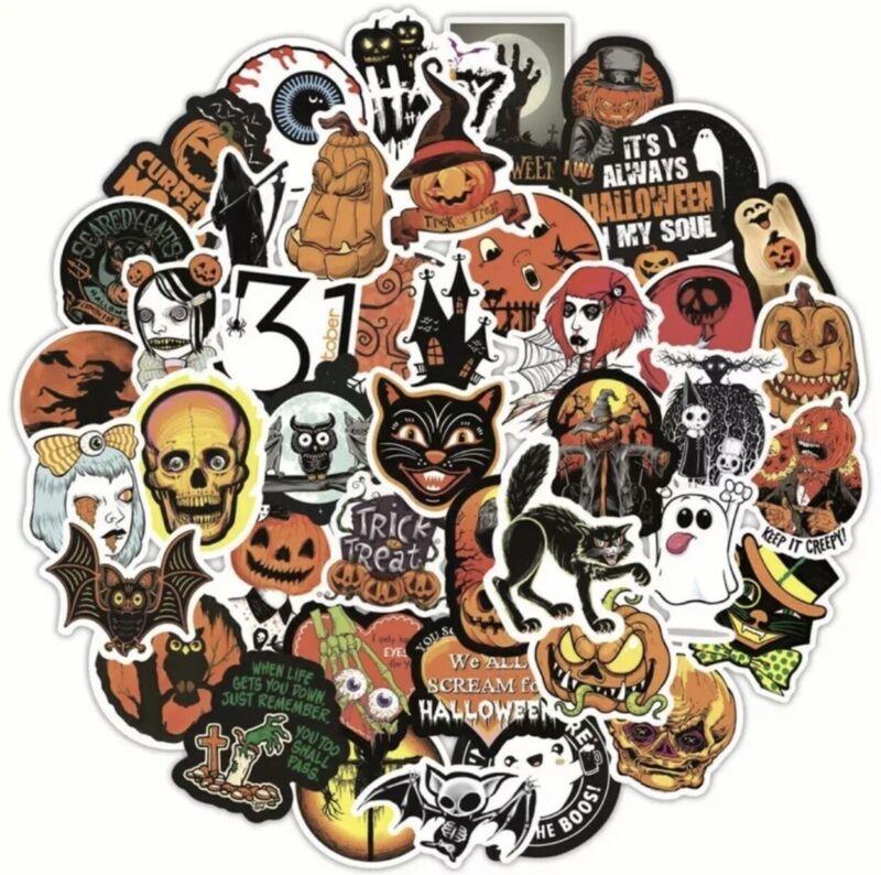 50pcs Retro Vintage Halloween Stickers Black Cat Pumpkin Horror