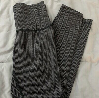 Lululemon Wunder Under High Rise 6 Herringbone 7/8th NWOT Black Gray White