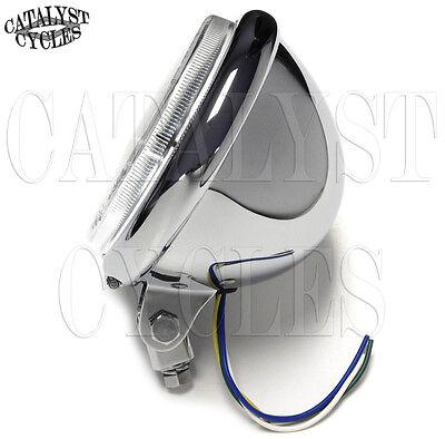 "5-3/4"" Chrome Headlight for Harley Bottom Mount 5.75"" Motorcycle Headlight"