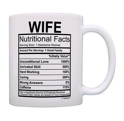Wedding Anniversary Gifts Wife Nutrition Facts Serving Size 1 Coffee Mug Tea Cup](Wedding Mugs)