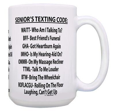 - Funny 65th Birthday Gifts Senior's Texting Code Funny 15oz Coffee Mug Tea Cup