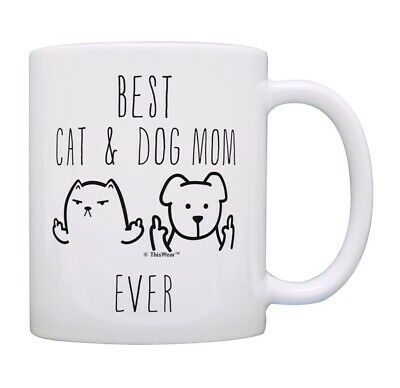 Cat and Dog Gifts Best Cat & Dog Mom Ever Rude Cat Dog Themed Ceramic Coffee