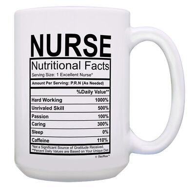 Funny Nurse Gifts for Women Nurse Nutritional Facts 15oz Cof