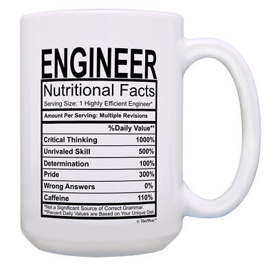 Funny Engineer Gifts for Men Engineer Nutritional Facts 15oz