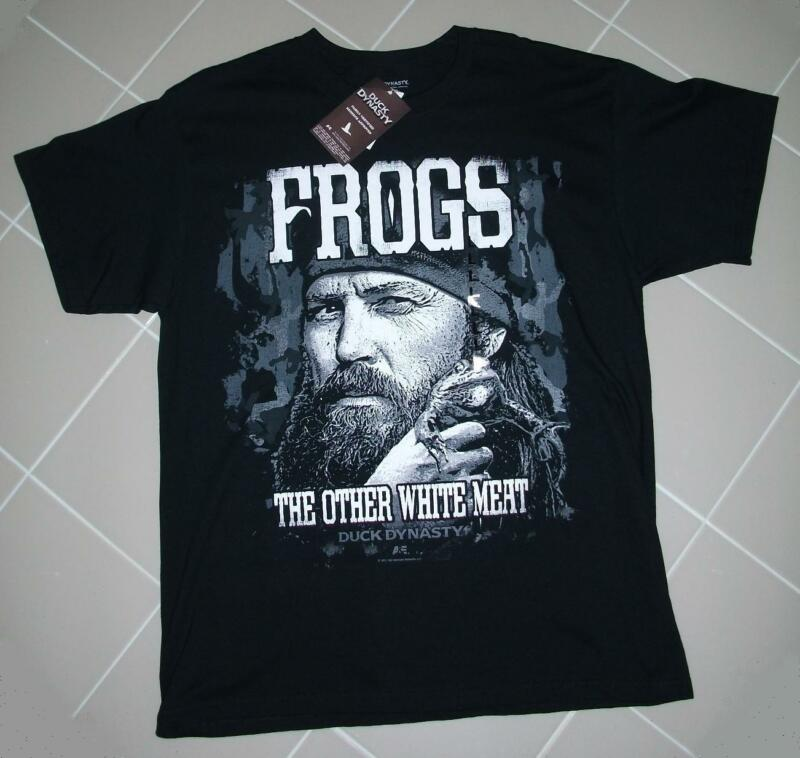 """Duck Dynasty Family Certified Tee Shirt. """"Frogs The Other White Meat"""". Large"""