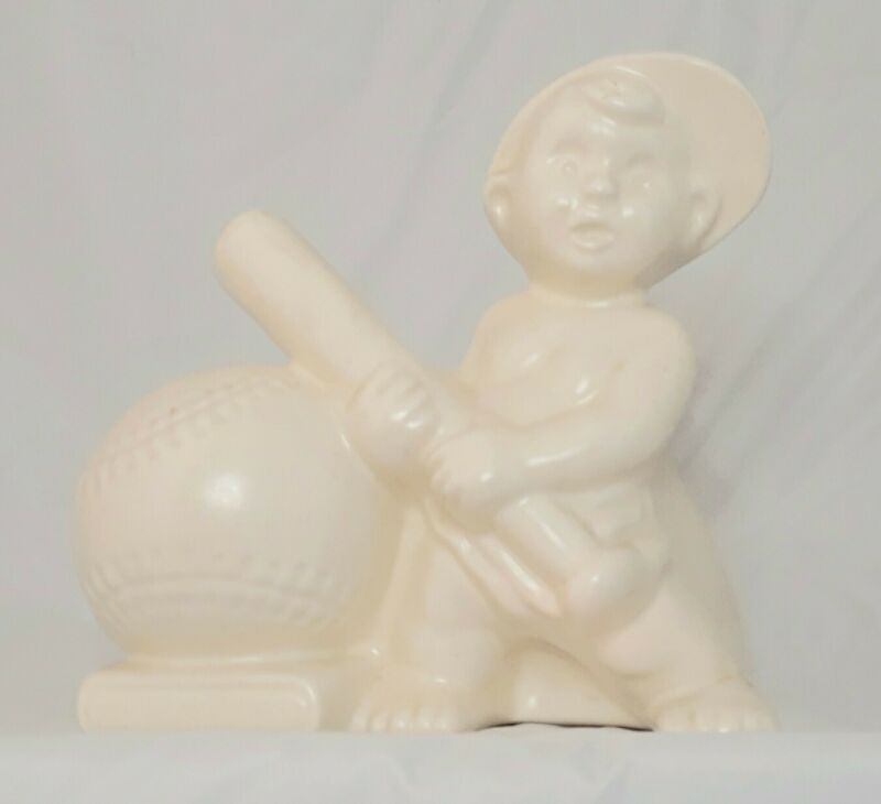 Vintage Haeger Pottery PLANTER Nursery Boy Child Baseball Bat White Flower Pot